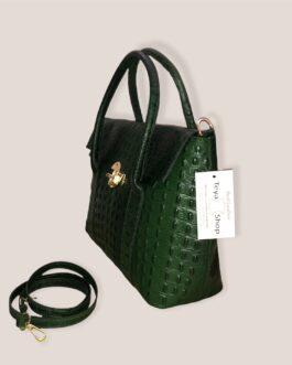 Дамска чанта от естествена кожа в зелен цвят