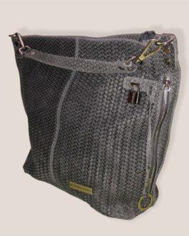 Дамска чанта тип торба от естествена кожа в тъмно сиво