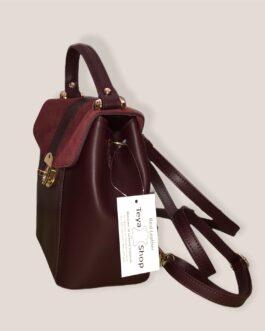 Малка раница- чанта от естествена кожа в бордо